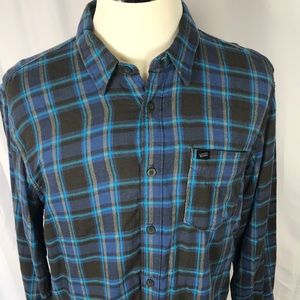 Vans flannel plaid blue and grey shirt